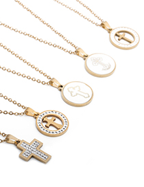 Fashion Section 1 Stainless Steel Inlaid Zircon Cross Necklace