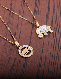 Fashion Gold Color Zircon Inlaid Stainless Steel Elephant Necklace