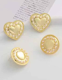 Fashion Round Round Heart Stud Earrings