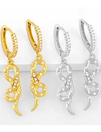 Fashion Gold Color Snake Earrings With Diamonds