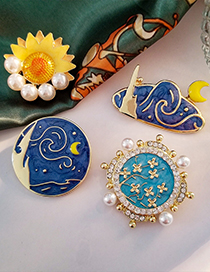 Fashion Blue Round Van Gogh Oil Painting Star And Moon Sunflower Alloy Brooch