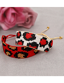 Fashion Red Rice Beads Hand Woven Leopard Print Wide Bracelet