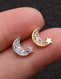 Fashion Silver Star And Moon Inlaid Zircon Stainless Steel Earrings