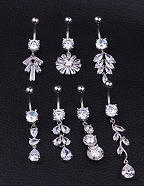 Fashion Type A Stainless Steel Pierced Zircon Leaf Belly Button Nail