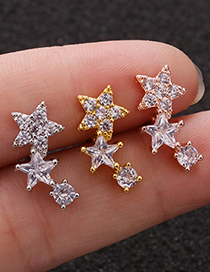 Fashion Silver Five-pointed Star Stainless Steel Screw Earrings