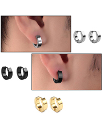 Fashion Black Stainless Steel Smooth Earrings