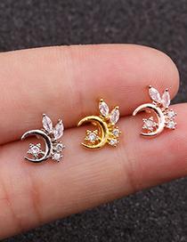 Fashion Silver Xingyue Zircon Stainless Steel Thin Rod Earrings