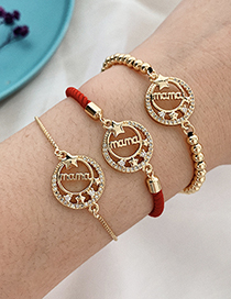 Fashion Golden Copper Inlaid Zircon Letters Mama Star Bracelet