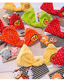 Fashion Red Bow Tie Bear Polka Dot Houndstooth Bow Hairpin