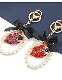 Fashion Purple Alloy Diamond-studded Lips And Pearl Pendant Products