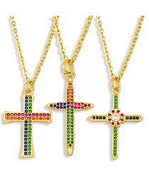 Fashion A Cross Pearl Necklace With Colored Zircons