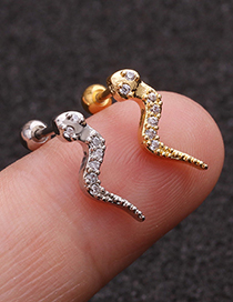 Fashion Silver Snake-shaped Stainless Steel Thin Rod Earrings