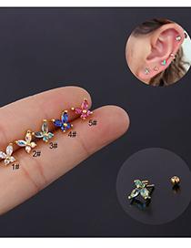 Fashion 1# Butterfly Flower Zircon Insect Stainless Steel Earrings