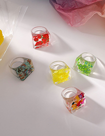Fashion A Strawberry Resin Transparent Color Matching Fruit Square Ring