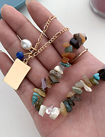 Fashion Color Alloy Chain Natural Stone Necklace
