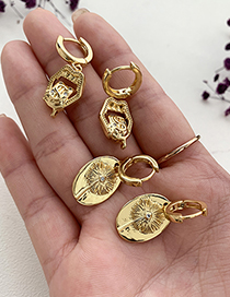 Fashion Gold Color Copper Inlaid Zircon Mouth Earrings