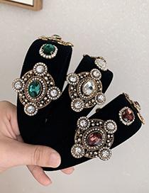 Fashion Dark Green Fabric Alloy Diamond-studded Geometric Headband