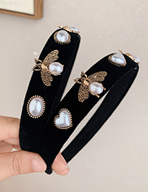Fashion Black Fabric Alloy Diamond-studded Pearl Bee Headband