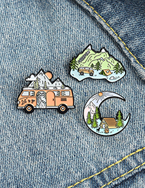 Fashion Aoyama River Pine Tree Cabin Painted Alloy Brooch