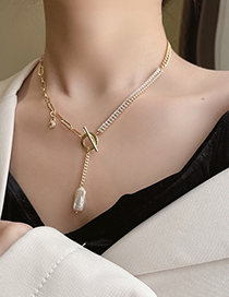 Fashion Gold Color Chain Pearl Zircon T-shaped Buckle Necklace