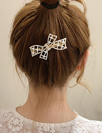 Fashion Gold Color Pearl Bow Hairpin