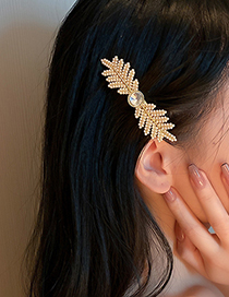Fashion Gold Color Diamond Pearl Leaf Hairpin