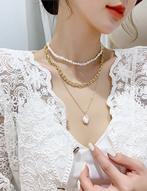 Fashion A Pearl Pendant Multi-layered Freshwater Pearl Necklace