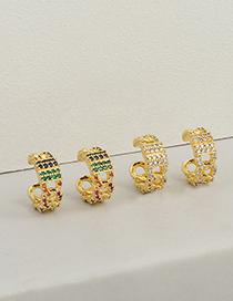 Fashion White Zircon Copper Micro-inlaid Colorful Zircon Geometric Earrings