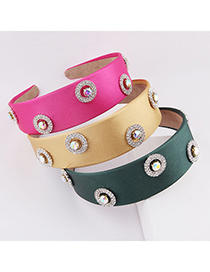 Fashion Yellow Broad-edged Light Cloth Diamond-studded Colorful Headband