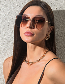 Fashion Upper Dust And Lower Powder Rimless Large-frame Polygonal Sunglasses