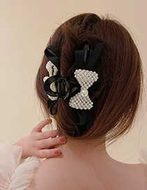 Fashion Style One Pearl Crystal Flannel Bow Hair Scratch
