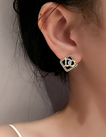 Fashion Silver Color Needle-geometry Stud Earrings With Diamonds And Geometric Letters
