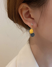 Fashion Yellow Drop Oil Candy Color Earrings