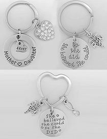 Fashion Mother And Daugther Stainless Steel Love Letter Keychain Pendant