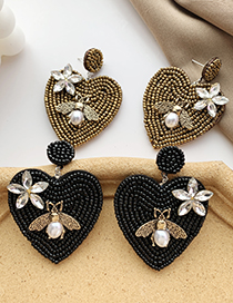 Fashion Color Rice Bead Love Flower Pearl Bee Stud Earrings