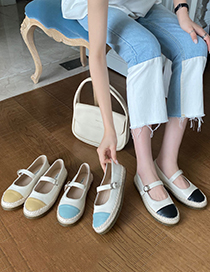 Fashion Yellow Crystal Sole Shallow Mouth Flat Shoes
