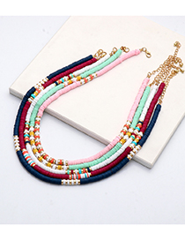 Fashion Red Alloy Soft Ceramic Beaded Necklace