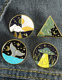 Fashion 4# Planet Starry Sky Mountain Peak Spaceship Fish Tail Alloy Paint Brooch