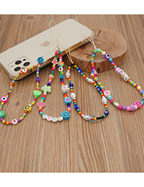 Fashion Qt-k210039g Color Matching Soft Pottery Sun Flower Smiley Phone Chain