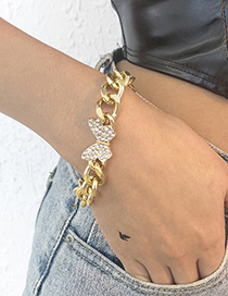 Fashion Gold Color Alloy Diamond Butterfly Thick Chain Bracelet