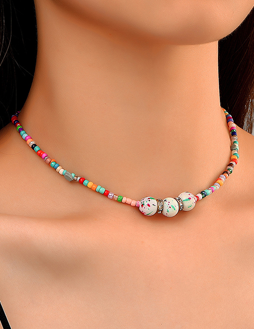 Fashion Color Colorful Rice Beads Beaded Necklace