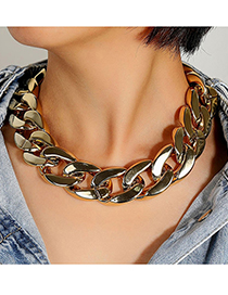 Fashion White K Thick Chain Hollow Necklace