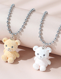 Fashion Light Coffee Play Bear Round Bead Chain Alloy Necklace