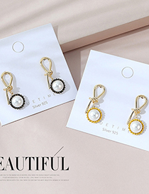 Fashion Black Real Gold Plated Knotted Earrings