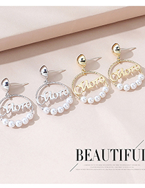 Fashion Platinum Real Gold-plated English Alphabet Pearl Earrings