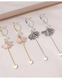 Fashion Gray Real Gold Plated Tassel Earrings