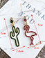 Fashion Green + Red Alloy Diamond Asymmetric Cactus Ostrich Stud Earrings