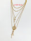 Fashion Gold Alloy Cross Multilayer Necklace