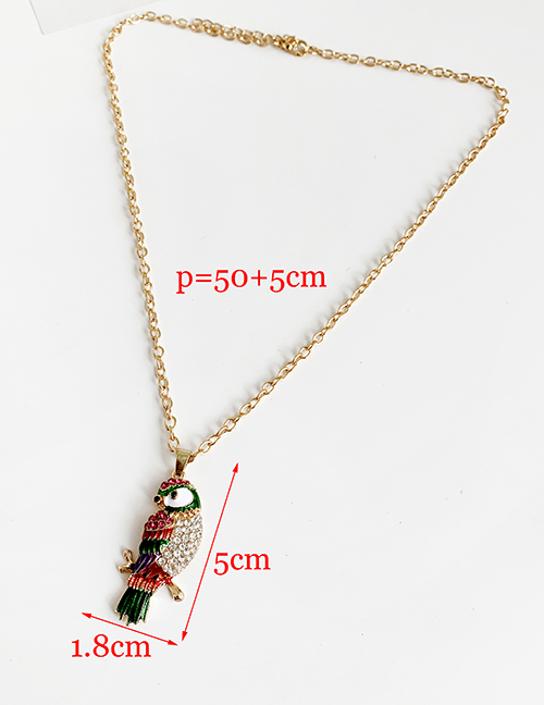 Fashion Red Alloy Diamond Parrot Necklace