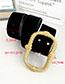 Fashion Black Pu Velvet Alloy Rectangular Belt